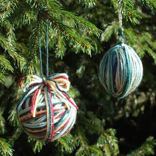 Yarn Wrapped Ornaments