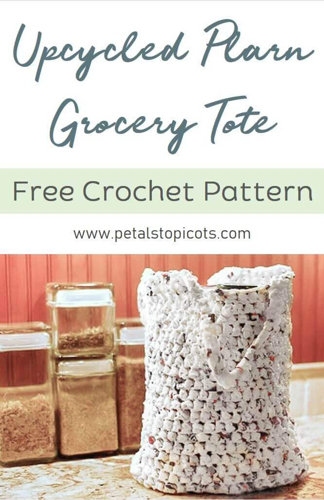 Stitch up this quick and easy plarn grocery tote pattern for a sturdy and reusable bag to carry your groceries. The great thing about this bag, in addition to recycling your plastic bags, is how surprisingly durable it is and that it can be washed in warm soapy water, air-dried, and be used again and again.
