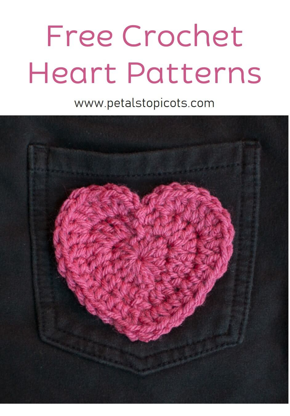 This crochet heart pattern is perfect for Valentine\'s day or to add to clothing, hats, or blankets. Create unique variations changing up your yarn and hook!