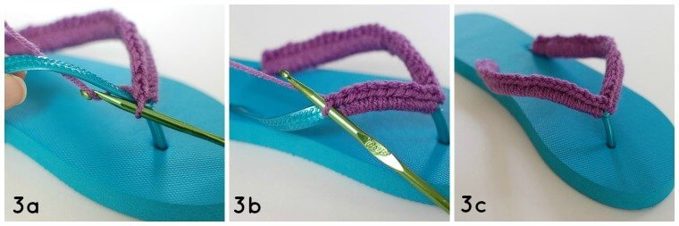 Step 3 - Crochet Flip Flops Tutorial | www.petalstopicots.com