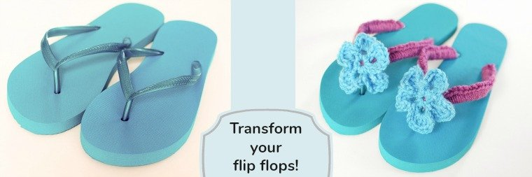 Transform an inexpensive pair of flip flops into a one of a kind accessory with this crochet flip flops pattern and tutorial.