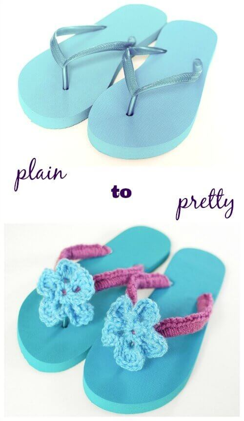 Crochet Flip Flops Tutorial with Flower Pattern