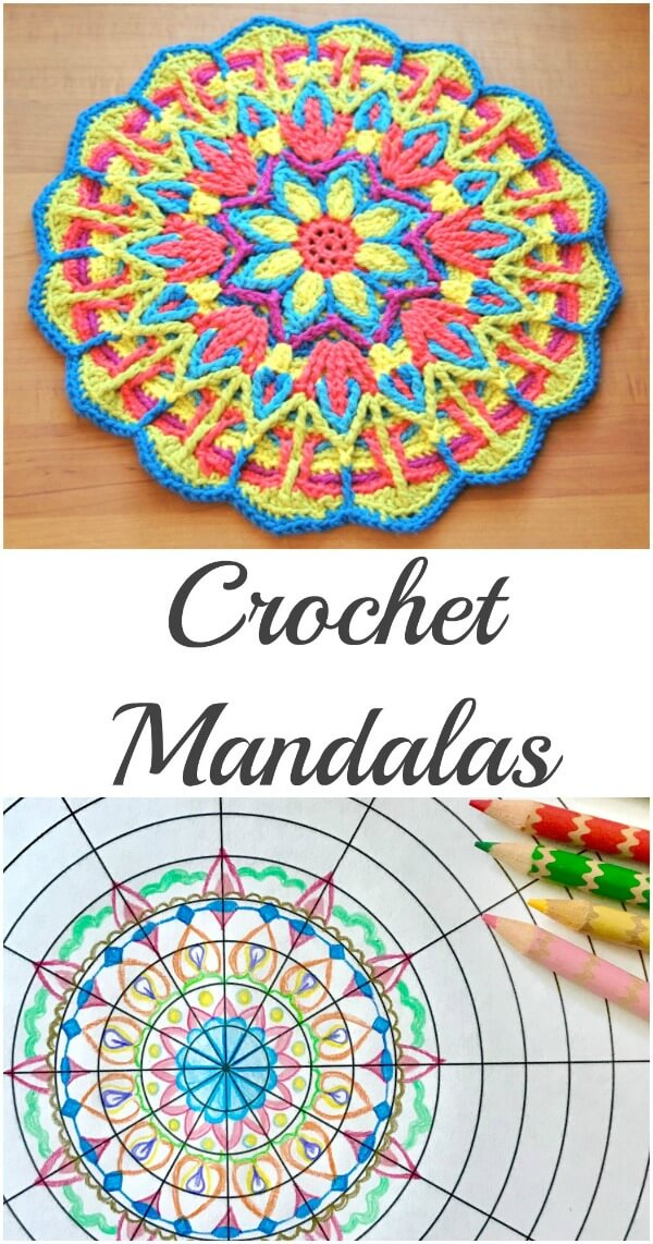 Mandala crochet patterns offer a wonderful opportunity to experiment with different stitch techniques and to explore color combinations. Come explore mandala crochet! #petalstopicots