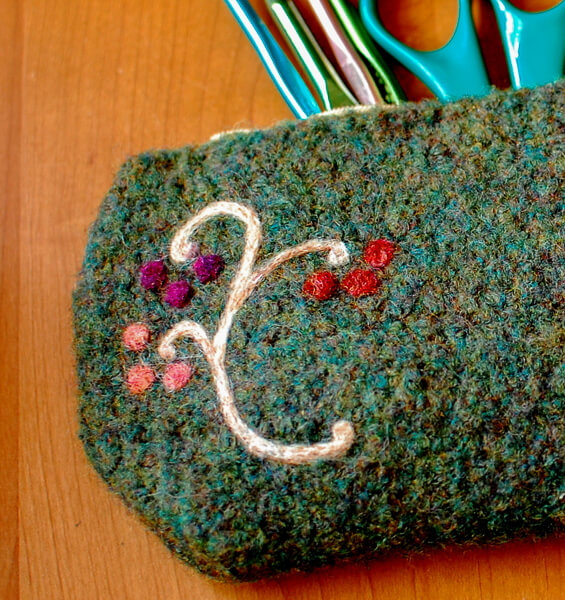 Felted Crochet Pencil Case