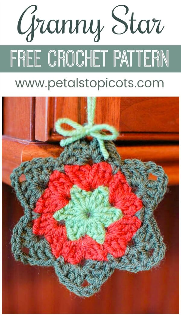This free granny star crochet pattern has such a sweet story to go with it! #petalstopicots