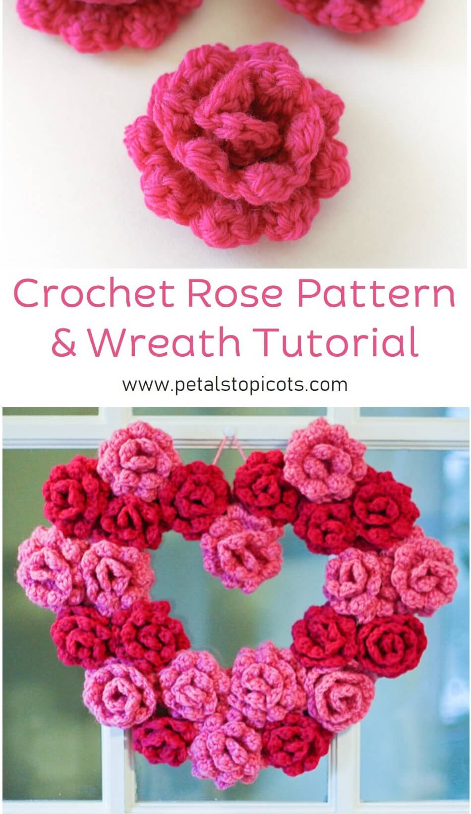 This crochet rose pattern is so super easy...just two simple rows and done! Once you learn how to crochet them, you can make the rose heart wreath included.
