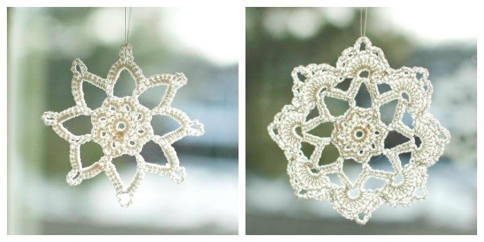 Two beautiful snowflake crochet patterns! #petalstopicots