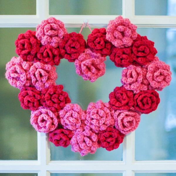 Crochet Rose Heart Wreath