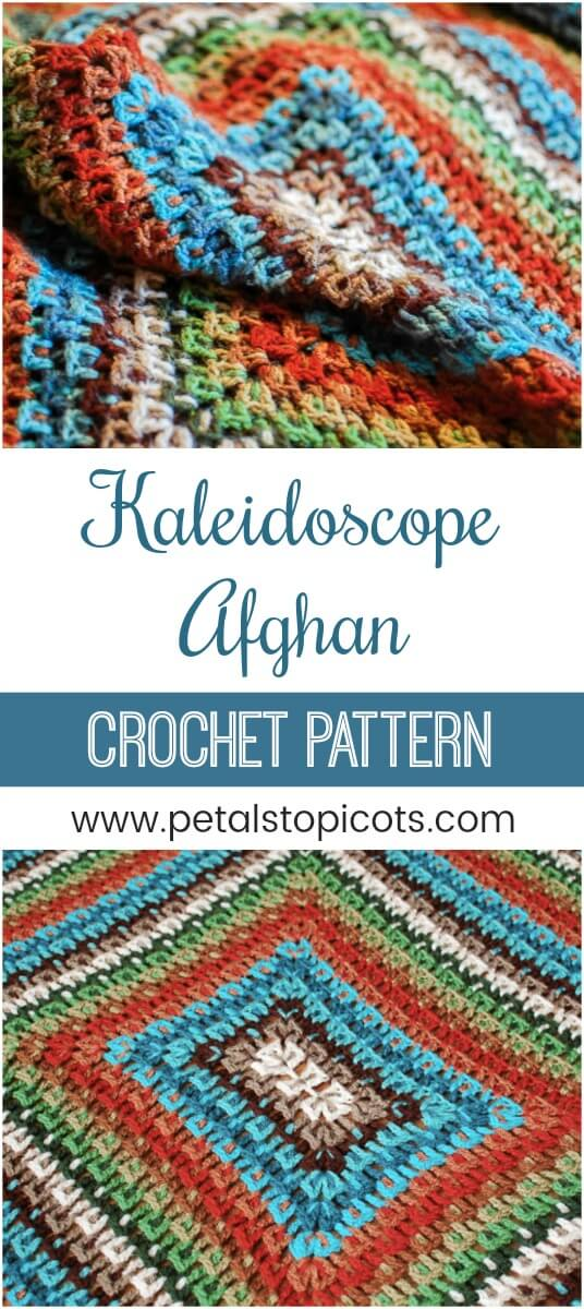 This Crochet Kaleidoscope Afghan Pattern features rounds and rounds of  beautiful colors and a delightfully textured design. #petalstopicots