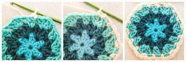 Joining crochet hexagons