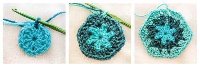 Crochet Hexagon Pattern Rounds 1 through 3