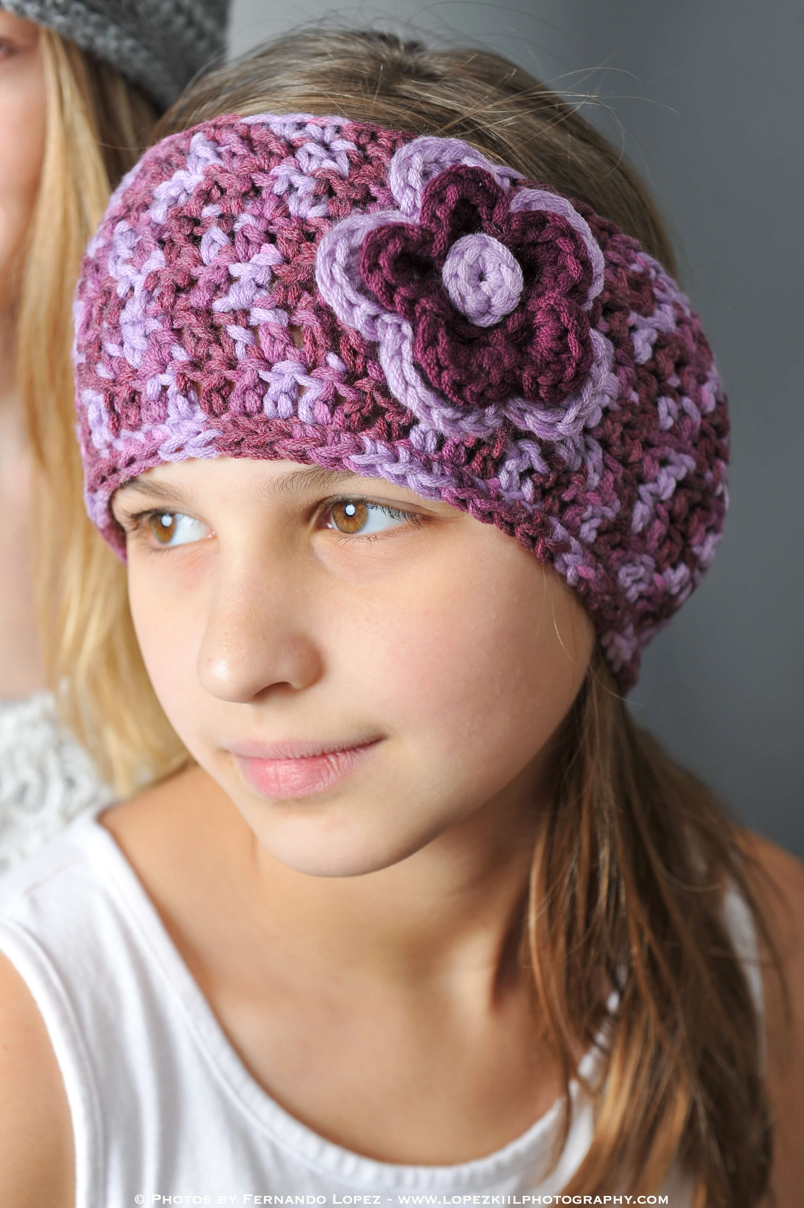 Crochet Pattern For Ear Warmers With Flower : Crochet Ear Warmer with Layered Flowers Petals to Picots