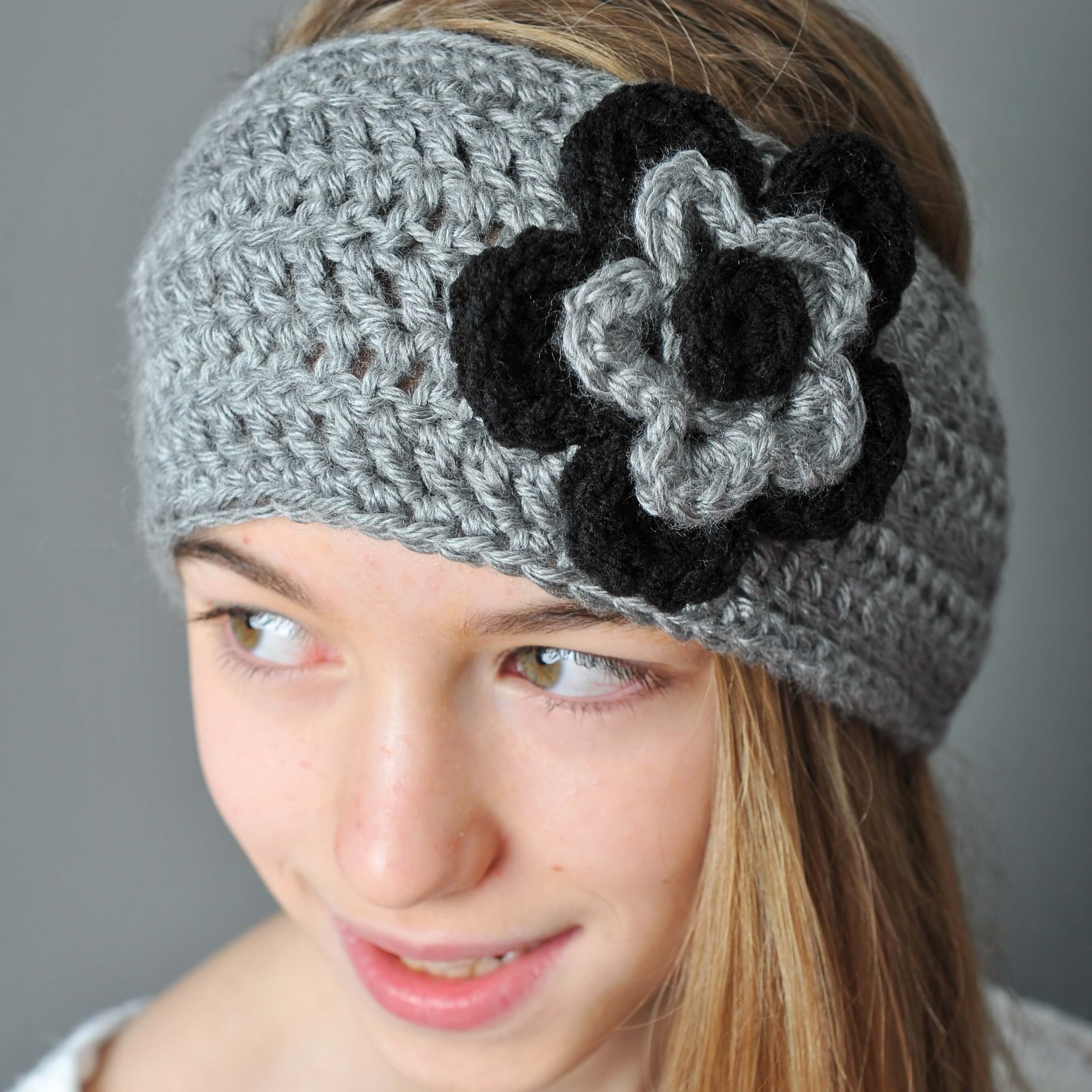 Free Crochet Pattern Headband Ear Warmer Button : Crochet Ear Warmer with Layered Flowers - Petals to Picots