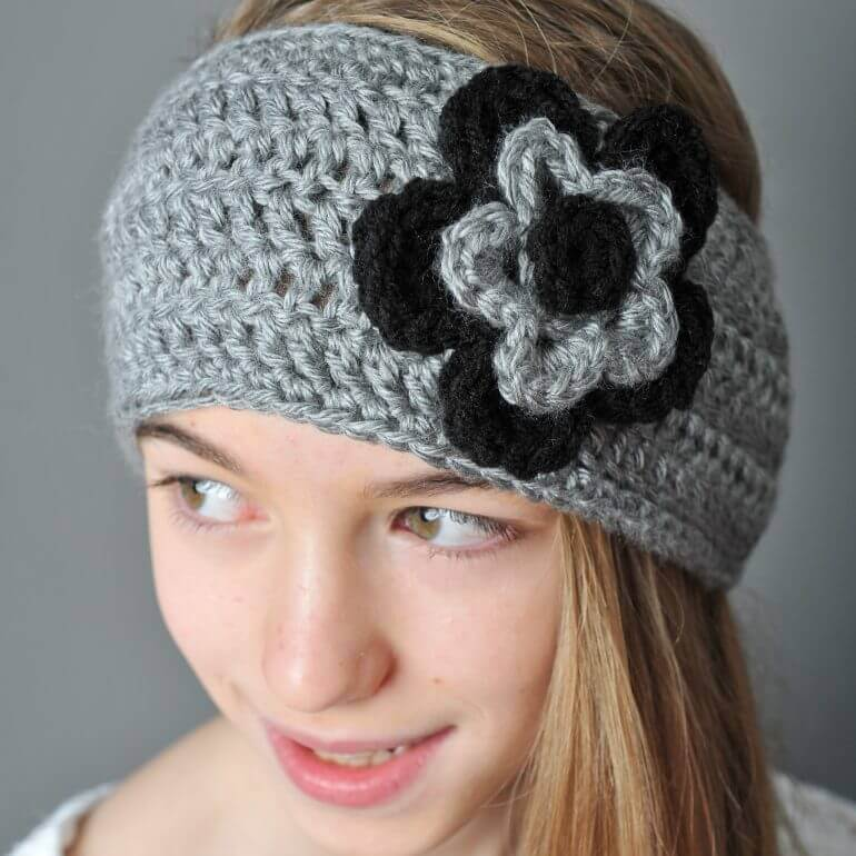 Crochet Ear Warmer With Layered Flowers