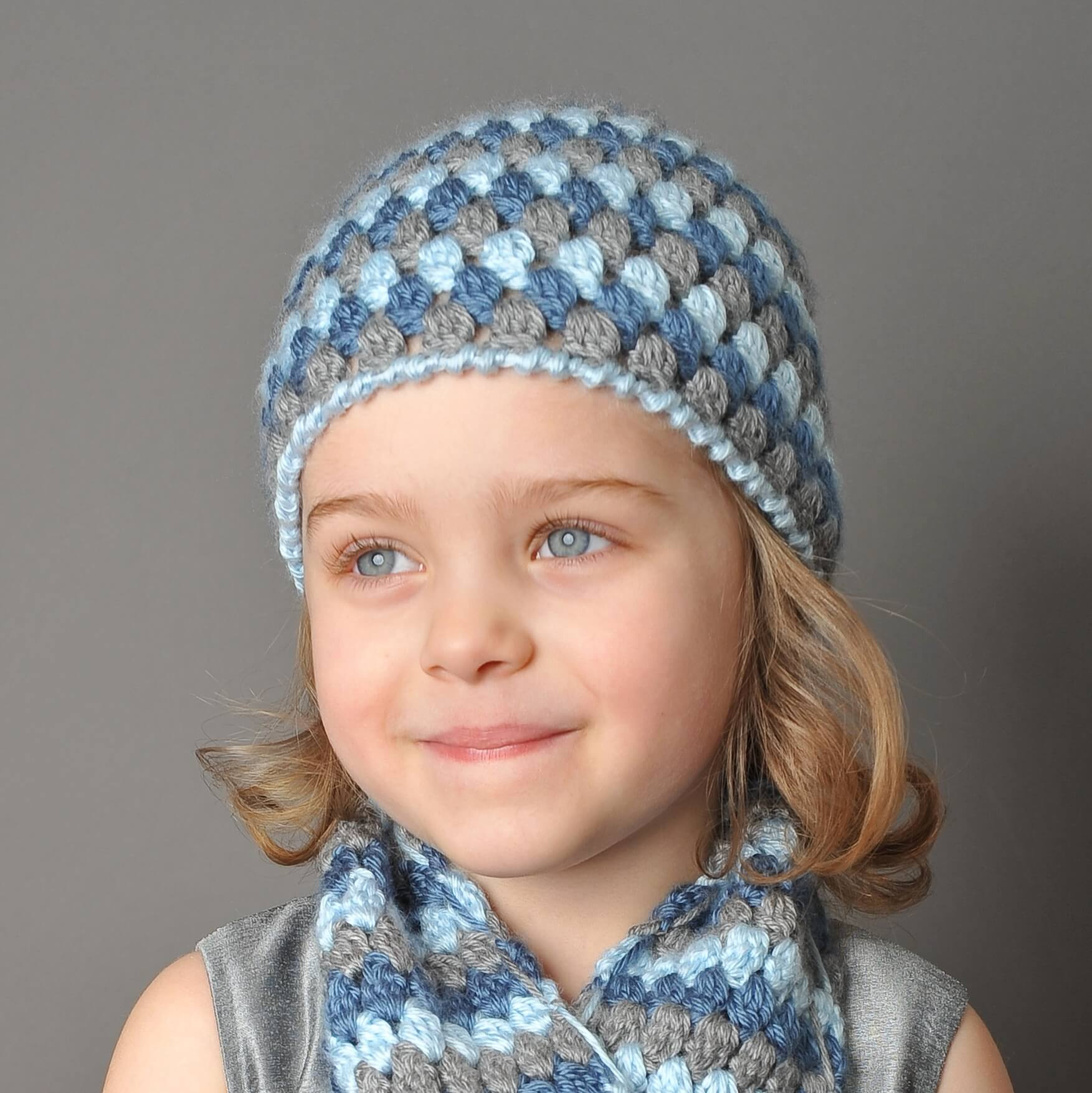 Crochet Pattern For Baby Hat And Scarf : Mod Hat and Scarf Crochet Set - Petals to Picots