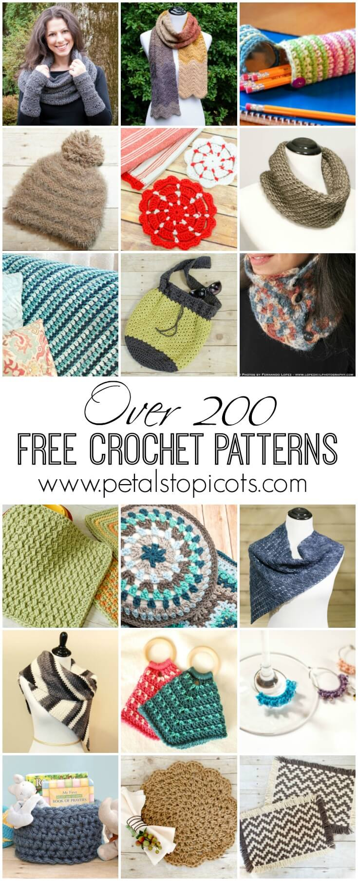 Find hundreds of free crochet patterns on Petals to Picots ... crochet for the home, wearable crochet and accessories, crochet for baby, and so much more! #petalstopicots