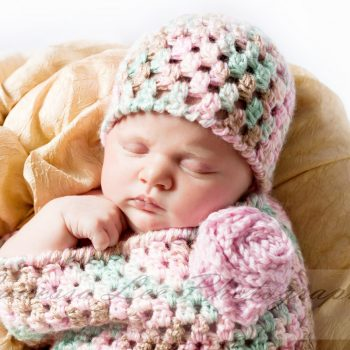 Newborn Crochet Bunting and Hat - Petals to Picots