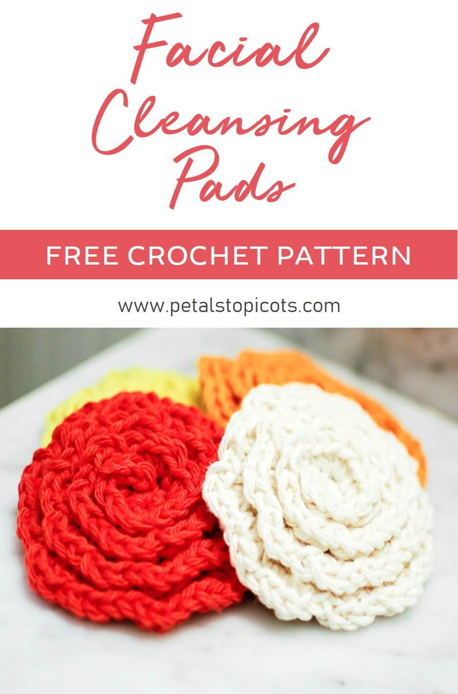 These crochet flower face cleansing pads add some fun to your beauty routine. They are attractive enough to be displayed while being soft and absorbent enough to cleanse. They also make for a great gift when paired with a scented soap and lotions. #petalstopicots