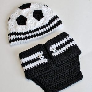 Newborn Soccer Hat and Diaper Cover - Petals to Picots