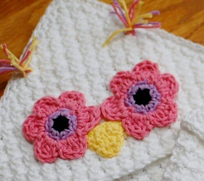 Crochet owl applique: Flowery Eyes