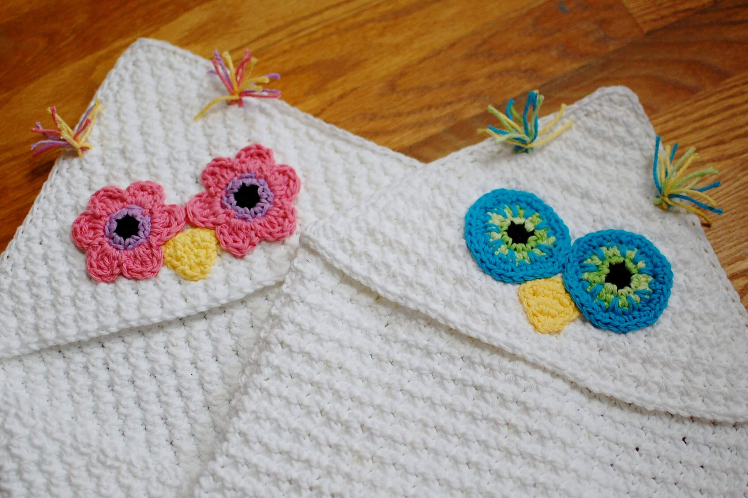 Owl Hooded Blanket Crochet Pattern Or Hooded Towel Petals To Picots