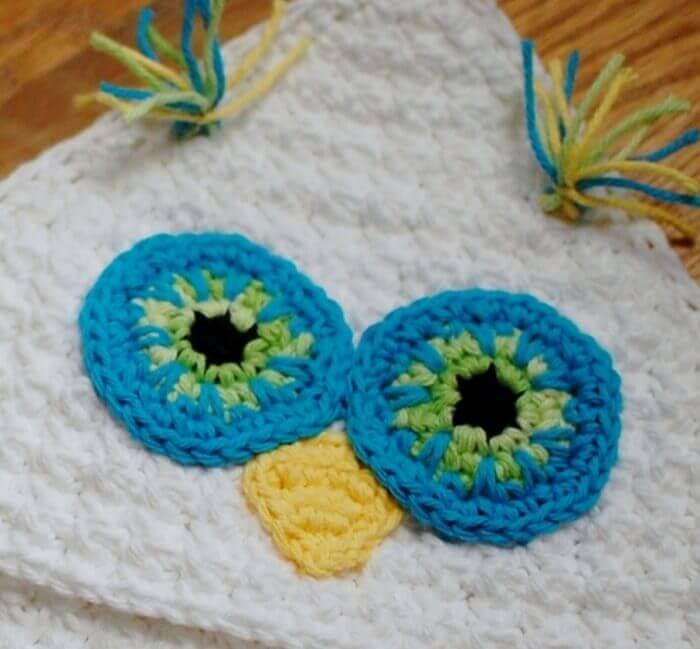 Crochet owl applique: Hoot Eyes