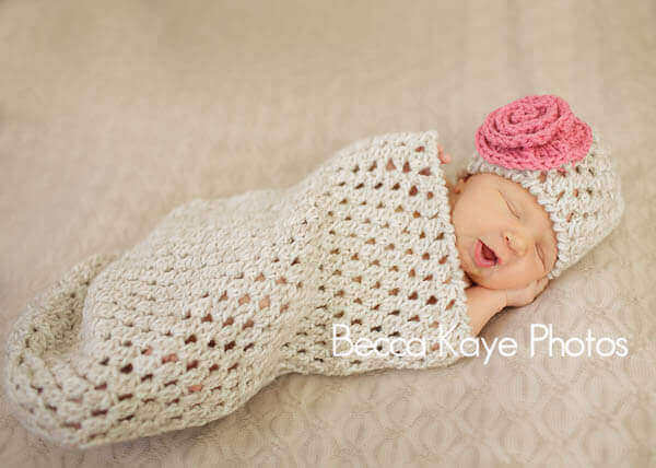 Newborn Crochet Bunting And Hat Petals To Picots