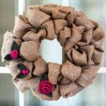 Burlap Wreath with Felted Crochet Flowers