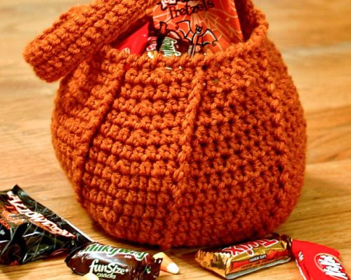 crochet pumpkin trick or treat bag-2