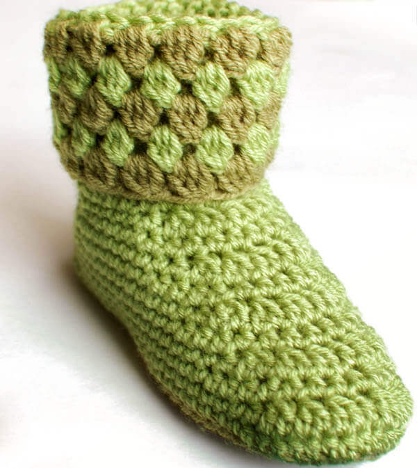 Free Knitted And Crochet Slipper Boots Patterns : Ladies Booties Crochet Slippers Petals to Picots