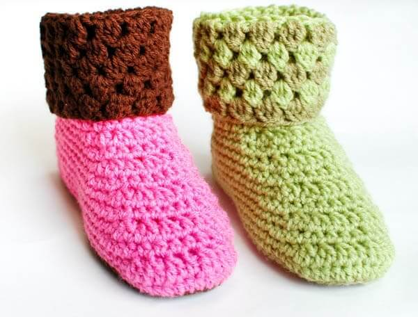 Ladies Booties Crochet Slippers - Petals to Picots