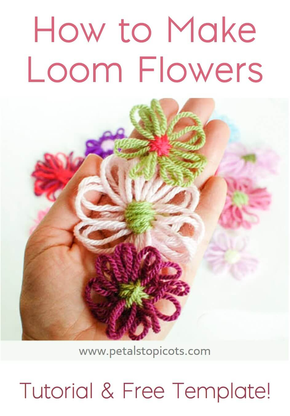 These pretty loom flowers are so quick and simple to whip up ... Download the free loom template and follow this