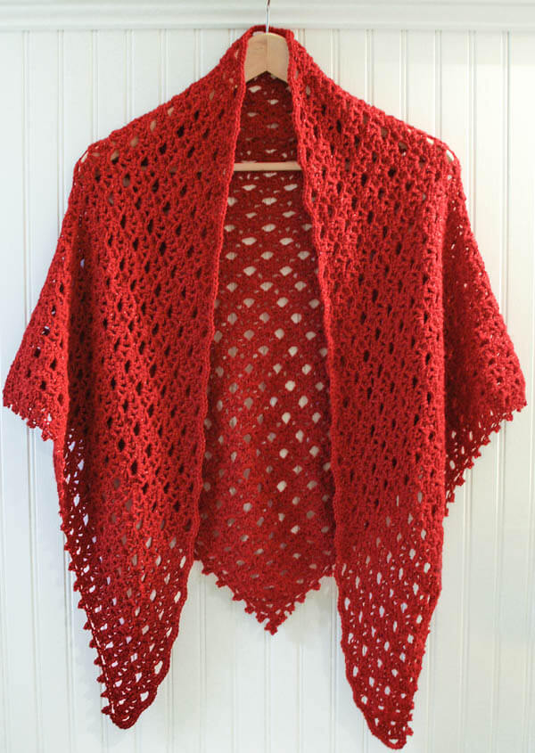 Lacy Shawl Crochet Pattern with beaded edging