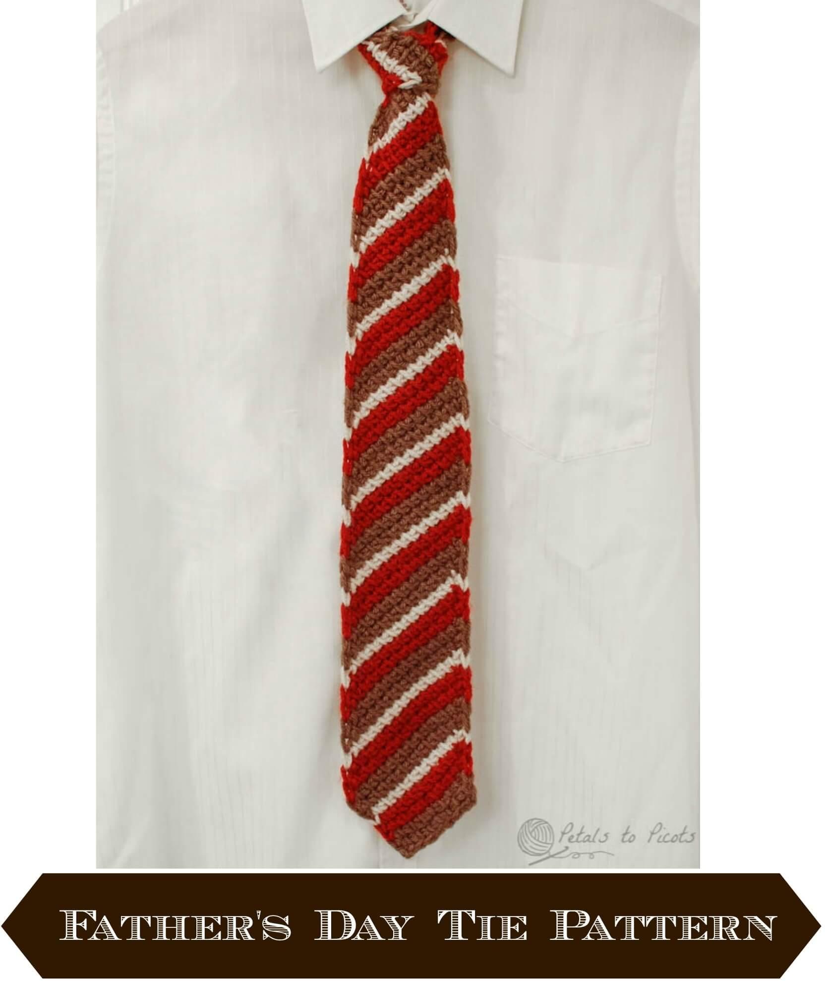 Tunisian Crochet Tie for Dad - Petals to Picots