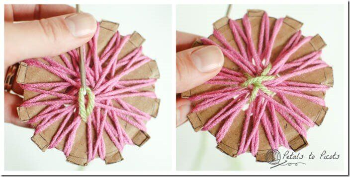 Step 4 - Stitch around the center of the flower to secure.