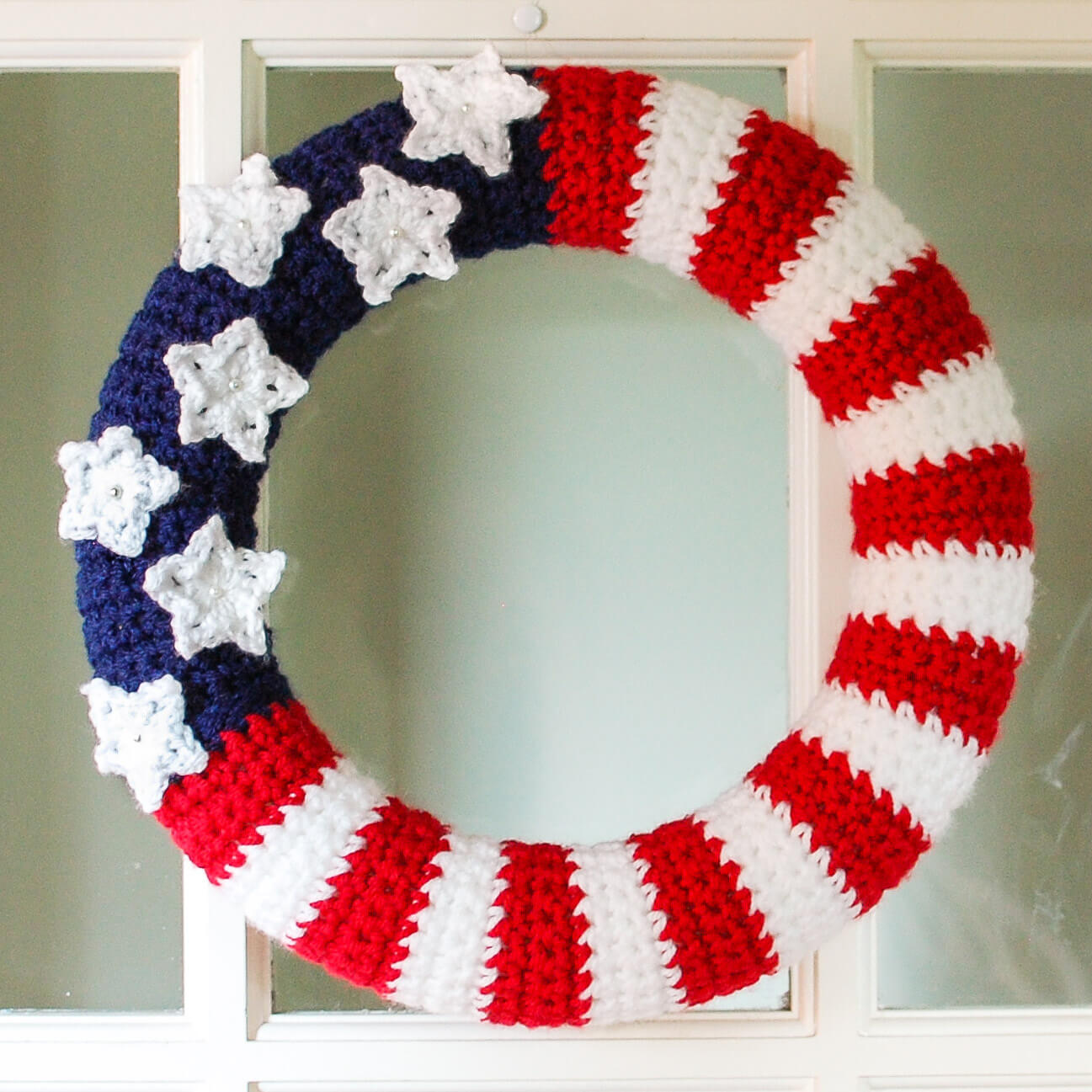Free Crochet Pattern Of American Flag : American Flag Wreath Crochet Pattern Petals to Picots