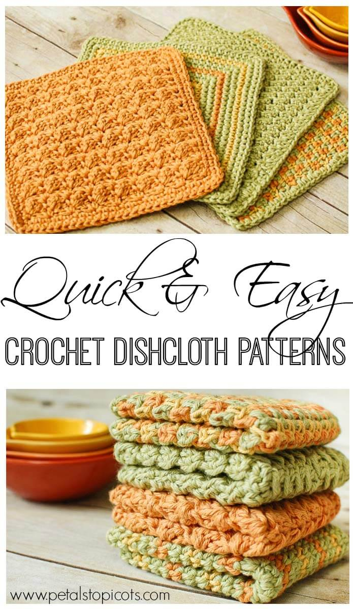 Crochet Dishcloths: 4 Quick and Easy Crochet Dishcloth Patterns