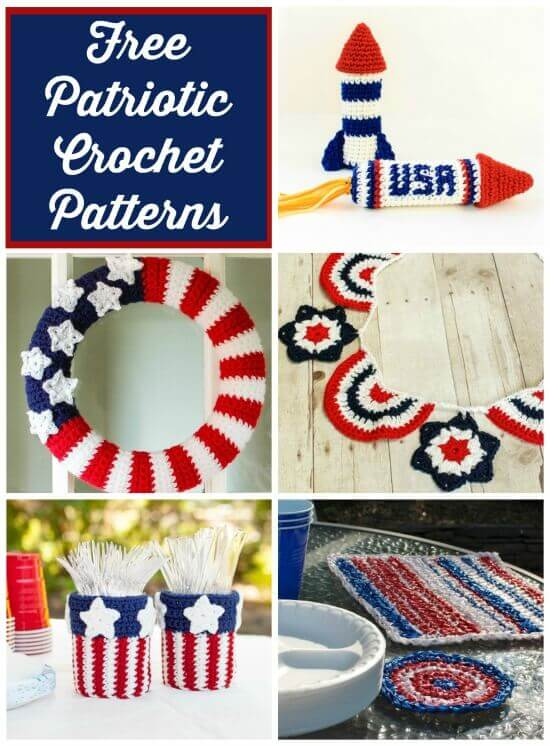 Free 4th of July Crochet Patterns | www.petalstopicots.com | #crochet #patriotic #4thofJuly