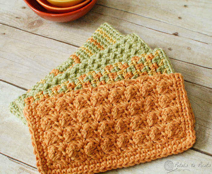 Free Crochet Dishcloth And Potholder Pattern : Crochet Dishcloths ? 4 Quick and Easy Patterns - Petals to ...