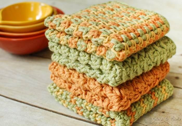 Simple Dishcloth Crochet Pattern Free : Crochet Dishcloths ? 4 Quick and Easy Patterns - Petals to ...