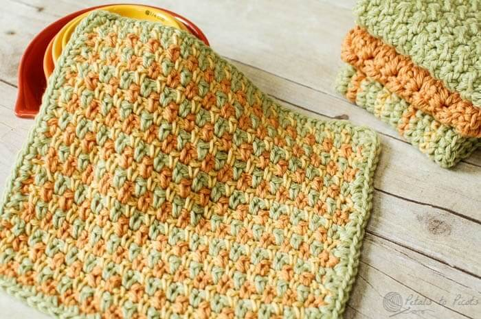 three color dishcloth pattern