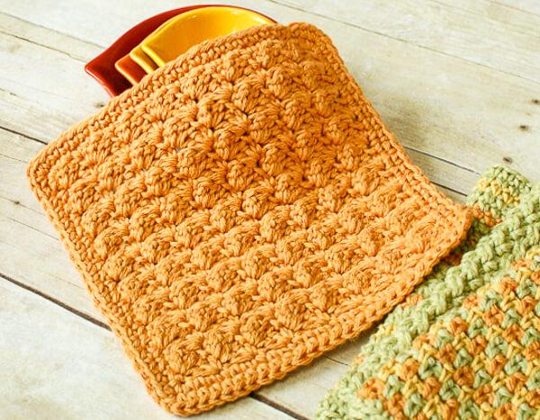 Textured Crochet Dishcloth Pattern Petals To Picots