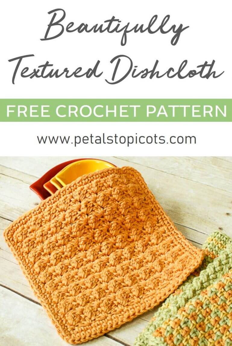 I love the amazing texture of this dishcloth ... and it only takes two simple stitches to achieve!! #petalstopicots