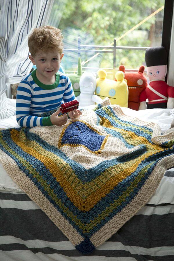 Lion Brand Little Boy Blue Blanket Crochet Pattern