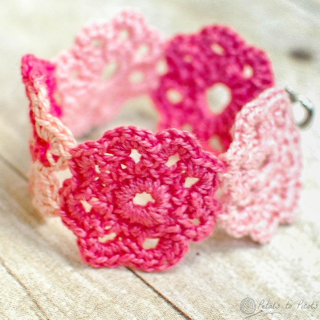 Crocheting Bracelets : Crochet Flower Bracelet www.petalstopicots.com #crochet #flower # ...