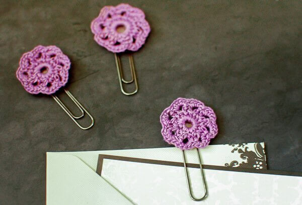 flower crochet paper clips