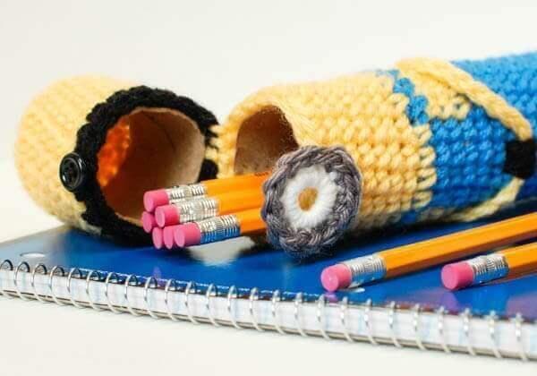 crochet minion pencil case