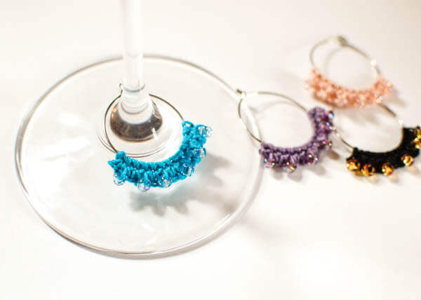 Beaded Crochet Wine Glass Charms | Free crochet patterns | www.petalstopicots.com