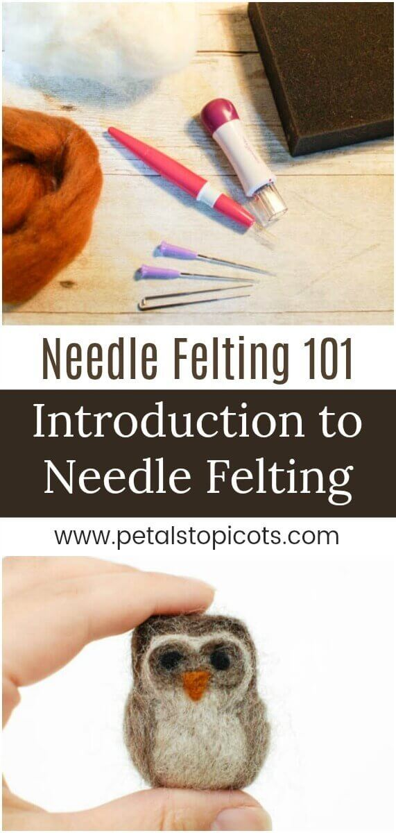 I can\'t wait to dig into this Introduction to Needle Felting with you! If you follow along with me on Instagram you know how much I love needle felting. There is just something so relaxing about it ... taking a handful of fluffy wool, poking it until it molds into the shape you want. #petalstopicots