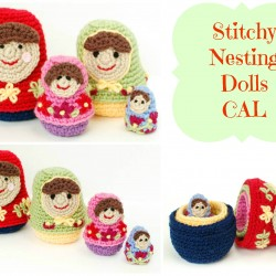crochet nesting dolls collage with caption